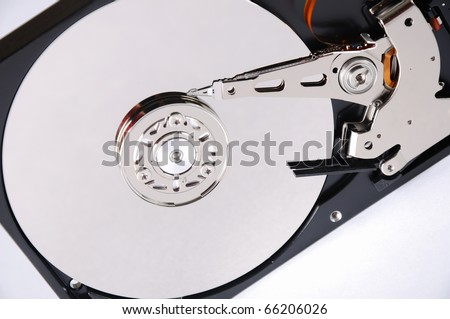 Computer hard disk on a white background. The disc is assembled.