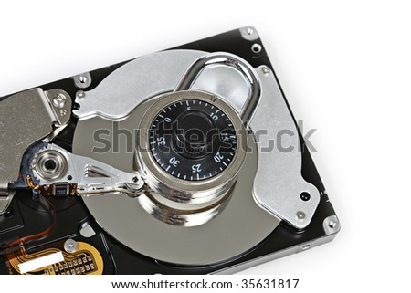 Computer Hard Drive with lock Taken Closeup