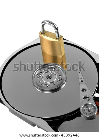 Computer harddrive and a padlock - security concept - stock photo
