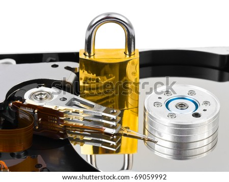 Computer harddrive and lock - security concept background - stock photo