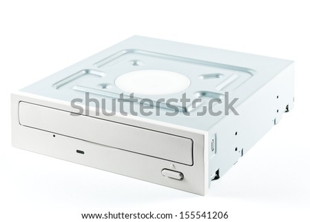 Computer hardware part - internal dvd-rom drive isolated on white - stock photo