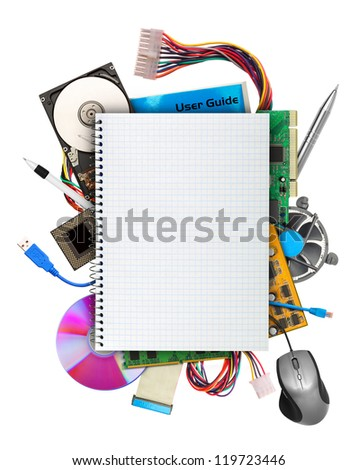 Computer hardware with blank notebook on top. Isolated on white - stock photo