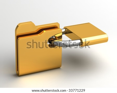 Computer icon for secure folder - stock photo