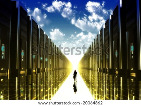 Computer illustration of a businessman walking down the isle of computerized era with computer tower on his right and left. - stock photo