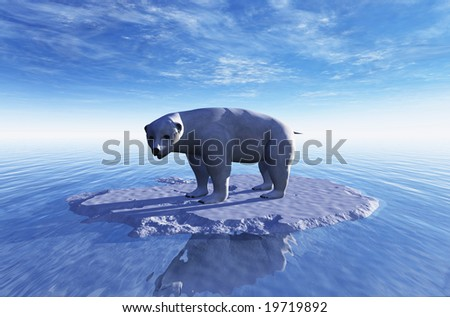 Computer Illustration Of A Single Lonely Polar Bear On A Little Piece Of Ice - stock photo