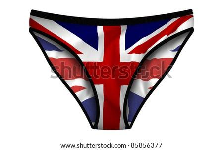Computer illustration of United Kingdom Flag panties. - stock photo