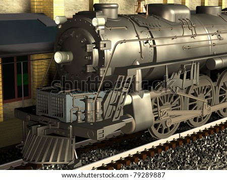 Computer image, 3D locomotive,railroad station and rails