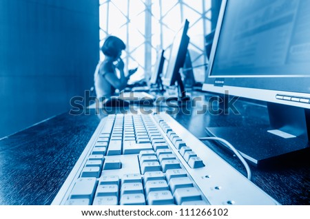 Computer in the library - stock photo