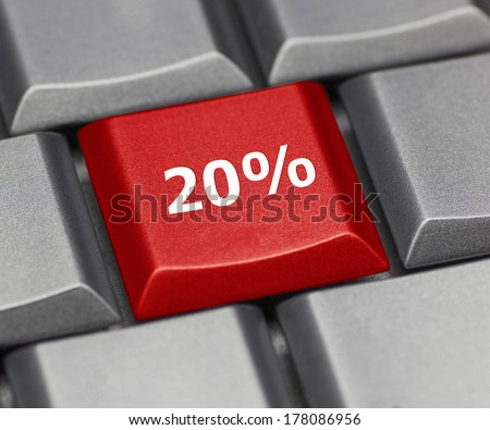 Computer key - 20% - stock photo