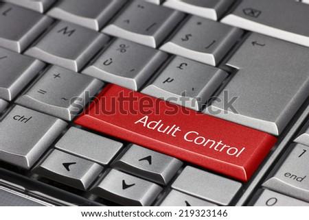Computer key - Adult control - stock photo