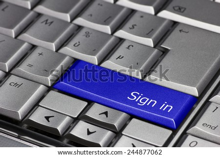 Computer key blue - Sign in - stock photo