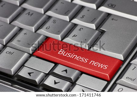 Computer Key - Business News - stock photo