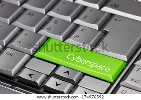 Computer Key green - Cyberspace - stock photo