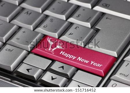 Computer key - Happy New Year - stock photo