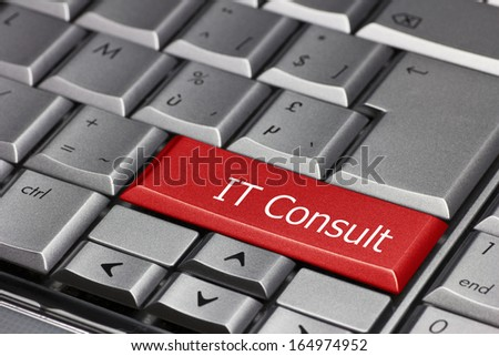 Computer key - IT consult - stock photo