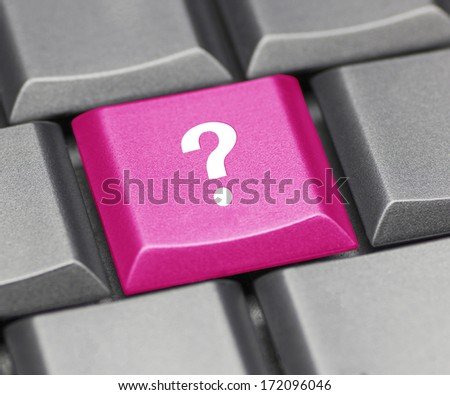 Computer key pink - question mark