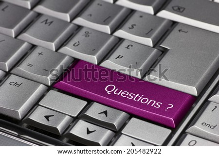 Computer key purple - Questions? - stock photo