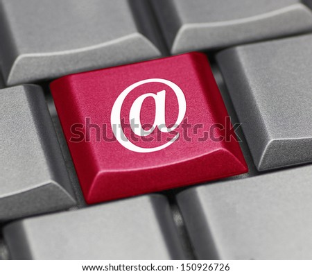 "Computer key red - email symbol ""at"" - stock photo"