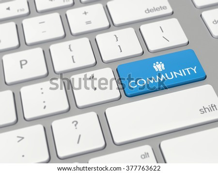 Computer key showing the word community with icon