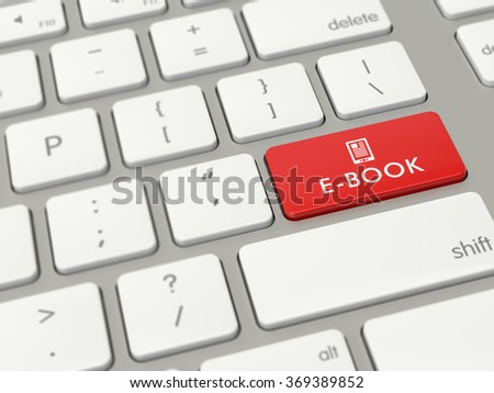 Computer key showing the word e-book with icon