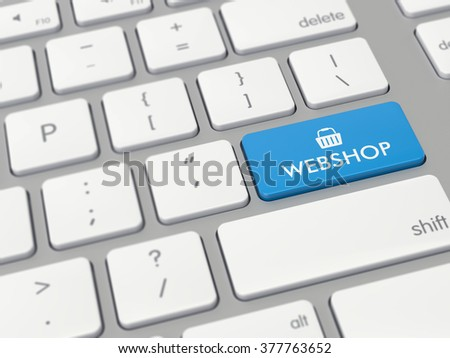 Computer key showing the word webshop with icon