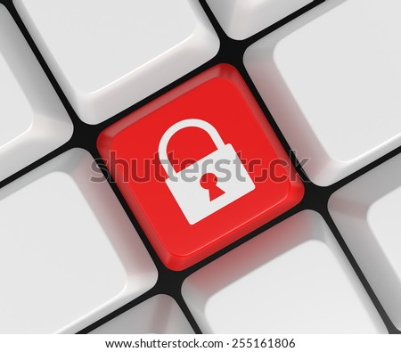 Computer key with lock icon. 3D Rendering - stock photo