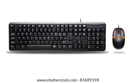 Computer keyboard and mouse isolated on white background - stock photo