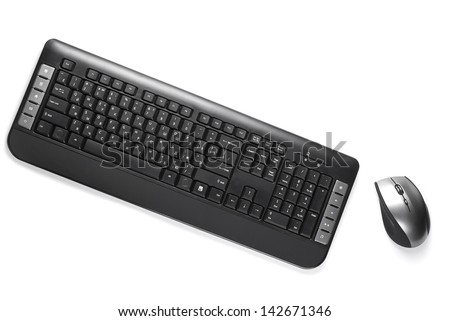computer keyboard and mouse silver color on a white background - stock photo