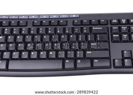 Computer keyboard black on white background