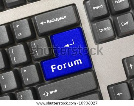 Computer keyboard -  blue key Forum, internet concept - stock photo