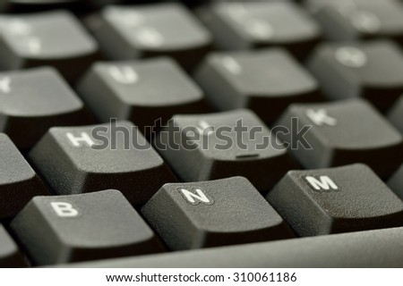 Computer keyboard. Close up of Keys, focusing on the letter N.
