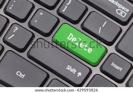 """Computer keyboard closeup with """"Delete"""" text on green enter key - stock photo"""