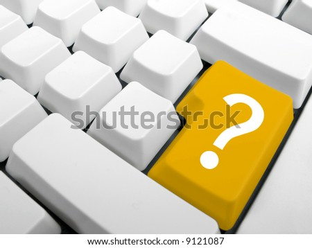 Computer keyboard. Enter key replace with yellow interrrogation key. Question key concept.