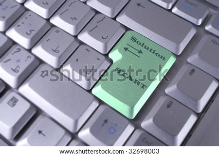 Computer keyboard - green key Solutions, Start, closeup - stock photo