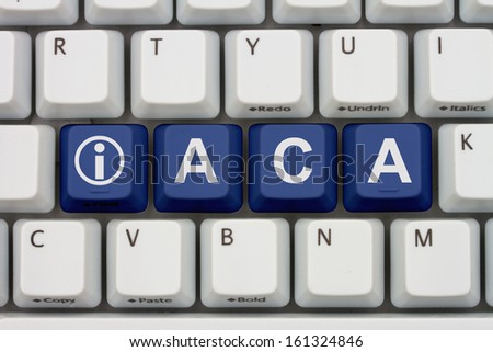 Computer keyboard keys with word ACA and information icon, Affordable Care Act Information Online - stock photo