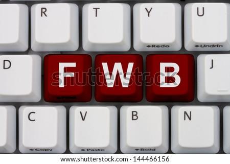 Computer keyboard keys with word fwb, Internet Dating Slang - stock photo