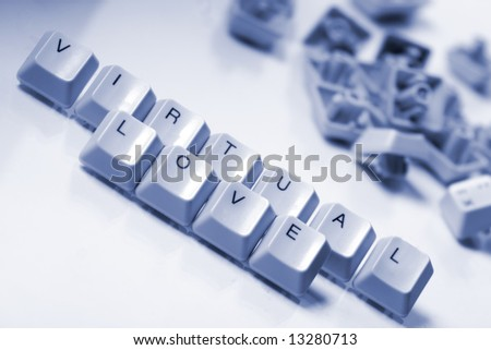 "Computer keyboard letters ""virtual love"" - stock photo"