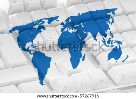 Computer keyboard overlaid with map of world