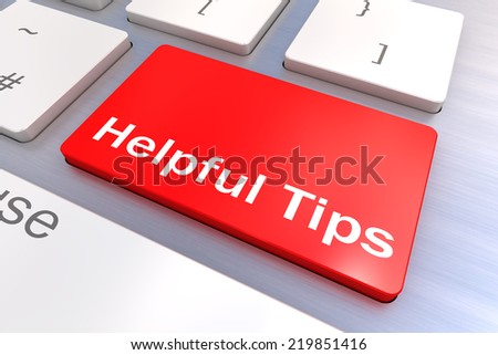 Computer keyboard rendered illustration with a Helpful Tips Button Concept - stock photo