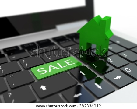 Computer keyboard shows the house for sale. Blur background - stock photo