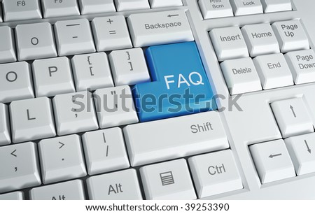Computer Keyboard with a FAQ text on the Enter key - stock photo