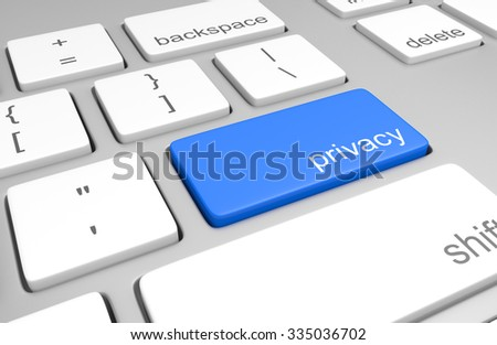 Computer keyboard with a key for accessing user privacy information - stock photo