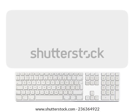 Computer keyboard with a slightly blurry gray background - stock photo
