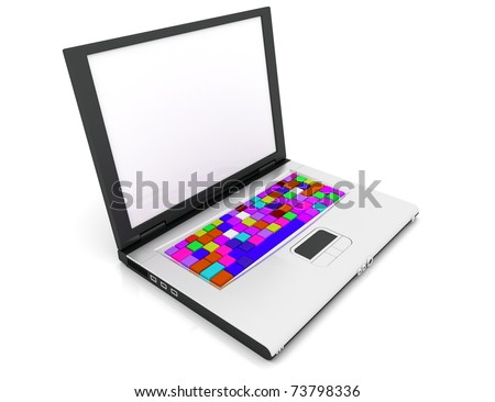 Computer keyboard with colored buttons. 3D Illustration