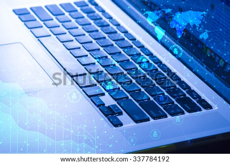 Computer keyboard with connection sign, technology concept - stock photo