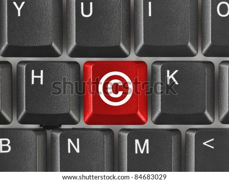 Computer keyboard with Copyright symbol - business concept - stock photo
