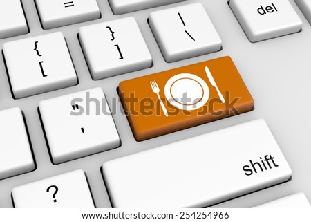 Computer Keyboard with Cutlery and Plate Restaurant Button Illustration - stock photo