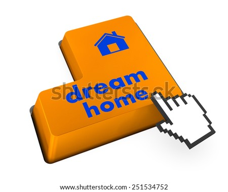 Computer keyboard with dream home key - technology background - stock photo