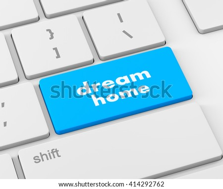 Computer keyboard with dream home key - technology background, 3d rendering - stock photo