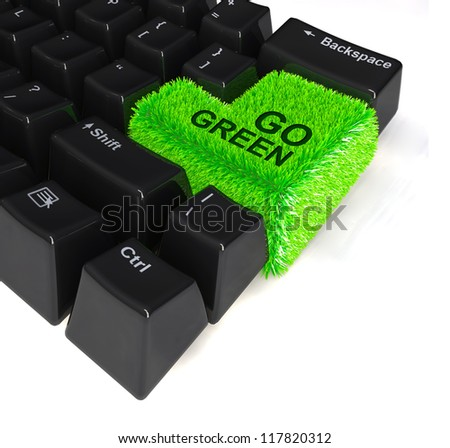 """computer keyboard with enter button in green grass and the word """"go green"""" written above, 3d illustration - stock photo"""
